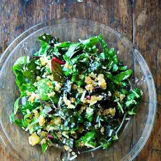 Swiss Chard Salad with Lemon, Parmesan & Breadcrumbs.