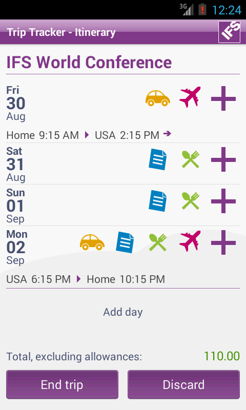 IFS Trip Tracker- screenshot