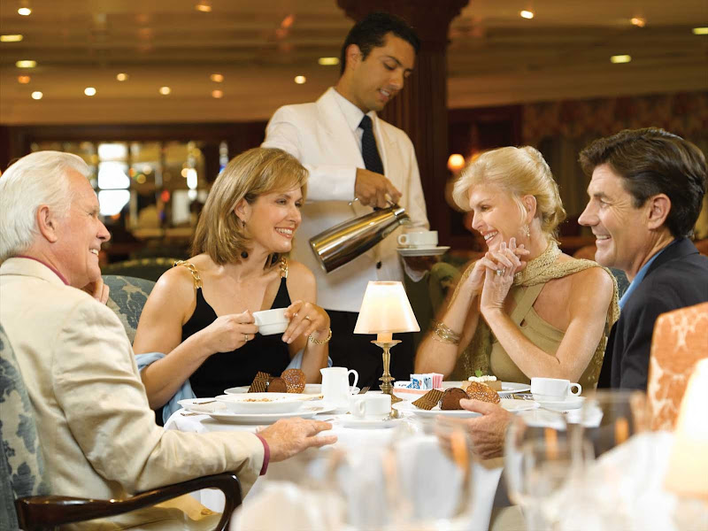 Oceania Regatta's luxurious Grand Dining room is the ideal setting to enjoy the company of new or old friends.