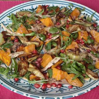 Autumn Salad with Artichokes, Sweet Potato, Arugula and Pomegranate.