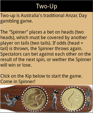 Two-up Anzac Day