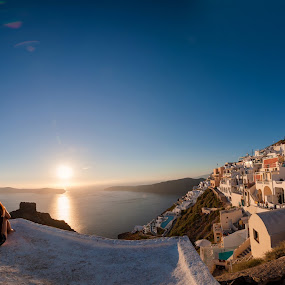 Love in the First Degree by Flo Yeow - People Couples ( flotographysg, sunset, greece, couple, oia, travel, landscape, imerovigli, santorini, aliandflo,  )