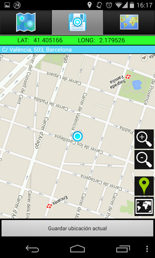 AndLocation Coordinates GPS - screenshot