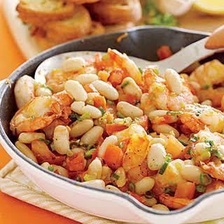 Shrimp-and-White-Bean Bruschetta.