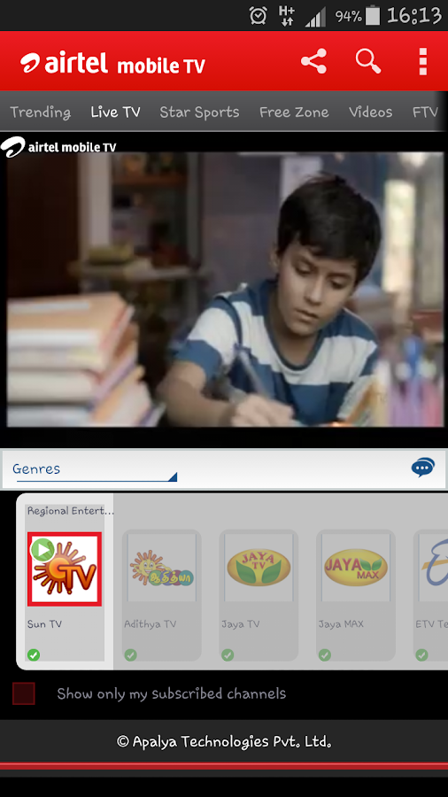 Airtel Live Mobile TV online - screenshot