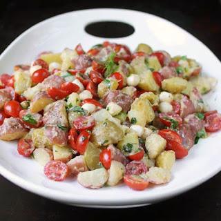 Tomato & Mozzarella Potato Salad with Lemon-Buttermilk Dressing.