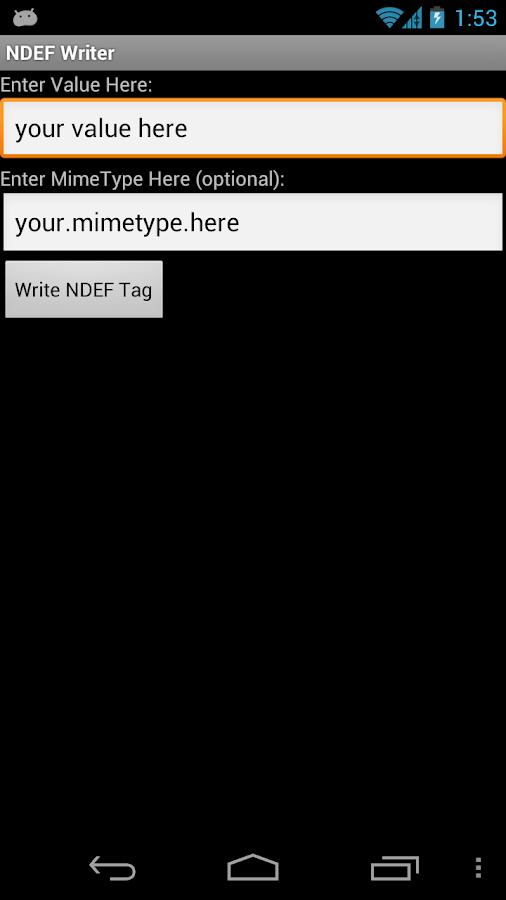 NFC NDEF Writer- screenshot