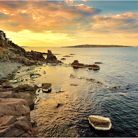 Sozopol sunset by Ivan Ivanov - Landscapes Waterscapes ( waterscape, sunset, rocks, sozopol, bulgaria )