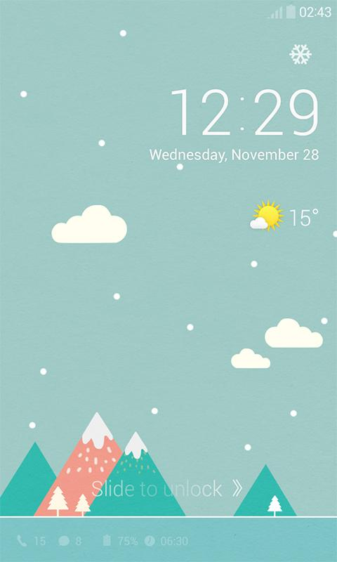 Pastel Snow Dodol Locker Theme- screenshot