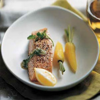 Steamed Salmon with Watercress Sauce.