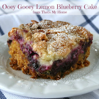 Ooey Gooey Lemon Blueberry Cake.