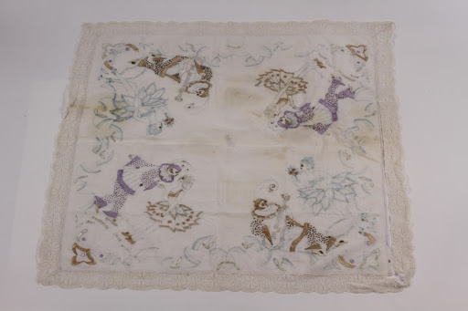 Partially embroidered tablecloth made by a Belgian Jewish woman recovered postwar
