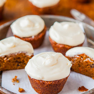 Carrot Cake Cupcakes with Vanilla Cream Cheese Frosting.