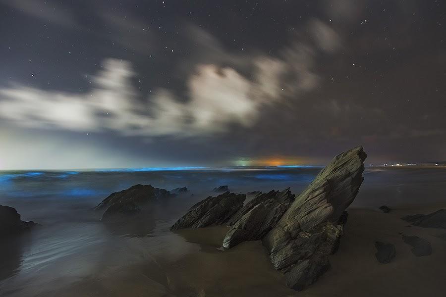 Blue by Hendrik Frier - Landscapes Waterscapes ( clouds, blue, stars, sea, night, ocean, rocks )