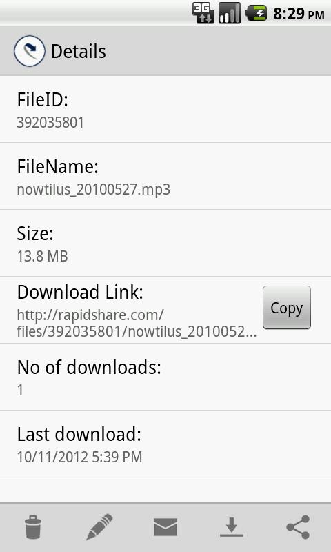 RapidShare Filemanager - screenshot