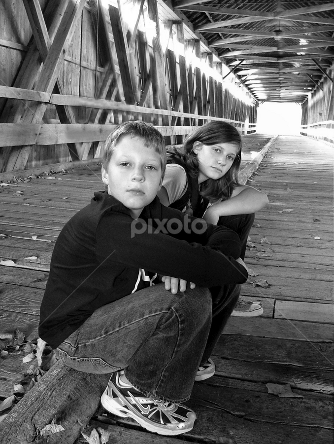 On Potter's Bridge II by Julie Dant - Babies & Children Children Candids ( sisters, black and white portraits, wooden bridges, covered bridges, siblings, people, brothers )