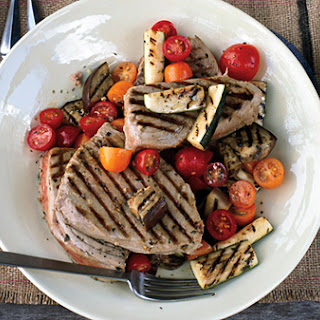 Grilled Tuna with Provençal Vegetables and Easy Aioli
