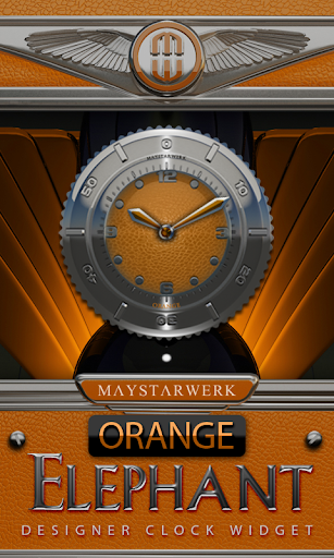 Clock Widget Orange Elephant
