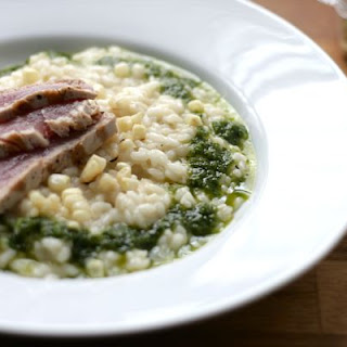 Charred Corn Risotto with Seared Tuna and Jalapeno-Basil Oil.