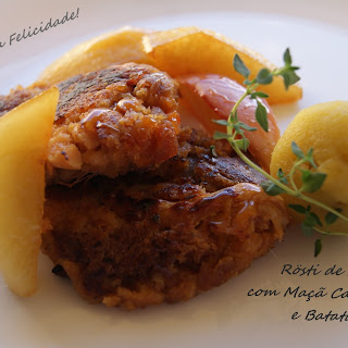 Alheira Sausage Rosti with Caramelized Apple and Sweet Potatoes.