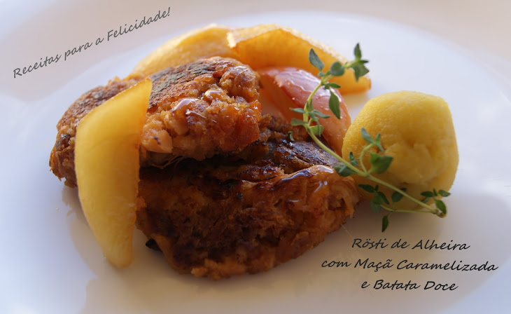Alheira Sausage Rosti with Caramelized Apple and Sweet Potatoes Recipe