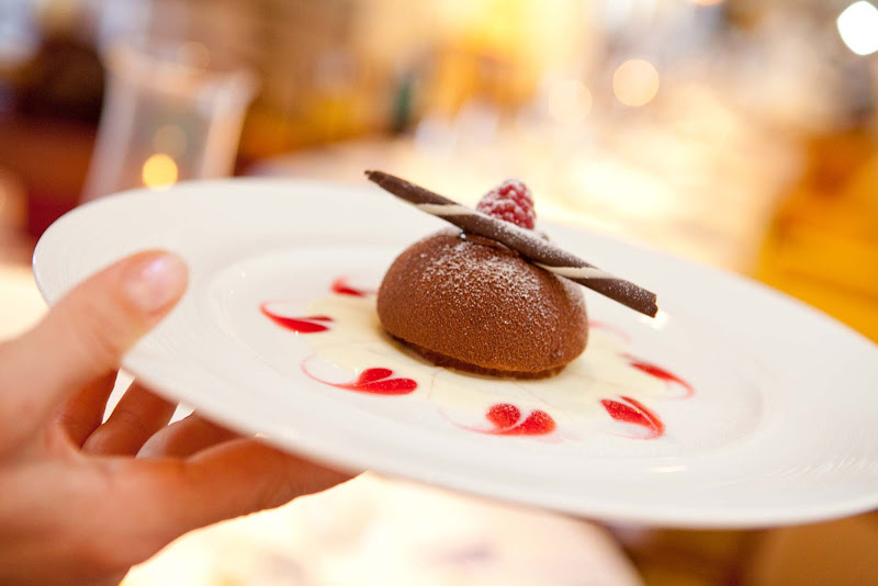 Finish a meal with a decadent chocolate dessert during your Crystal Symphony cruise.