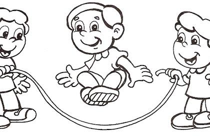 Le Meilleur De Dibujos De Niños Saltando La Cuerda Para Colorear Sur
