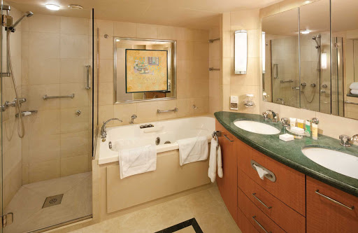 Splendour-of-the-Seas-Owner-Suite-Bath - The tastefully appointed bathroom in the Owner's Suite aboard Splendour of the Seas.