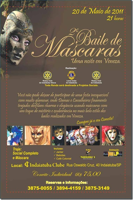 2° Baile de Máscaras do Rotary e Lions Club