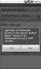 Fast Food Calorie Lookup Screenshot 2