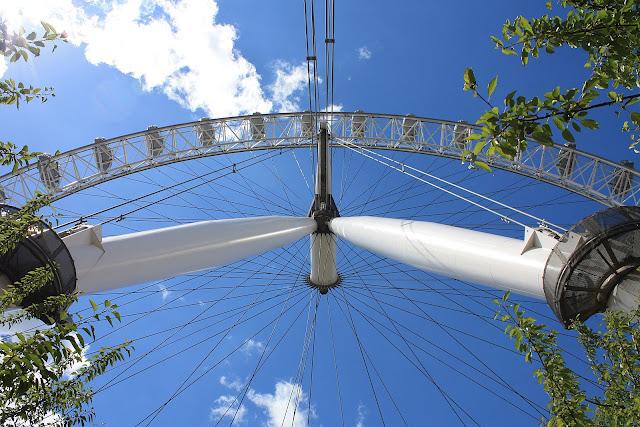 IPohled na Londýnské Oko zespodu.