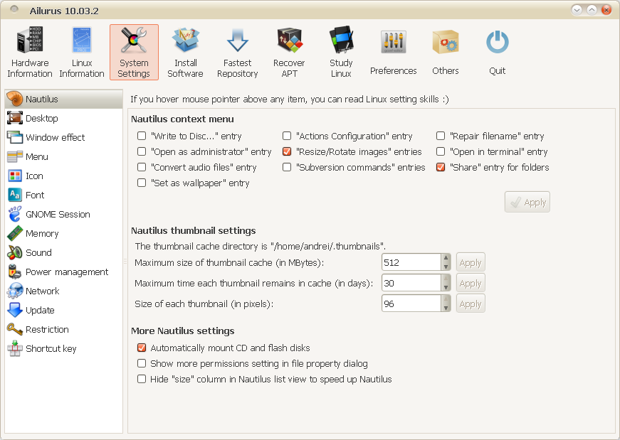Tweak Ubuntu With Ailurus 10 03 2 (Just Released) ~ Web Upd8: Ubuntu