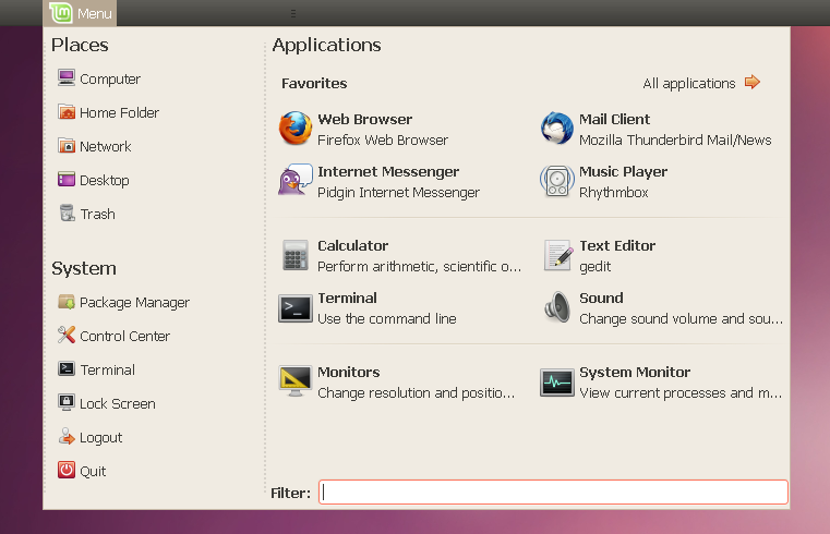Install Linux Mint Main Menu (MintMenu) In Ubuntu From A PPA