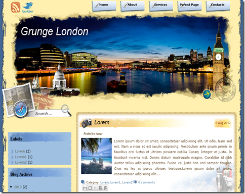 Grunge London Blogger Template