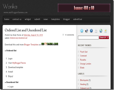 Worika Blogger Template