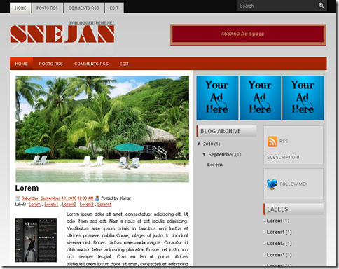 Sejan Blogger Template