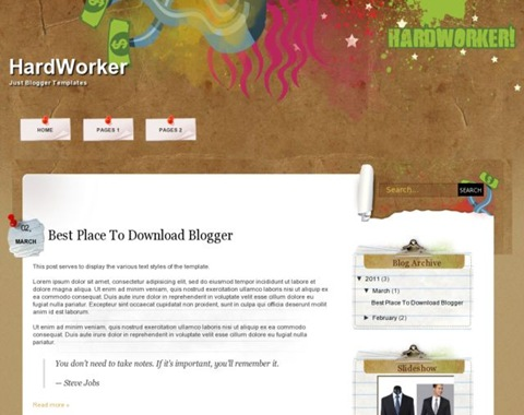 HardWorker Blogger Template