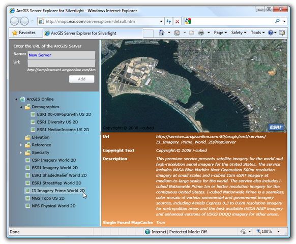 ArcGIS Server Explorer for Silverlight