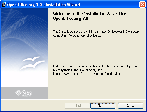 OpenOffice.org installation: click cancel