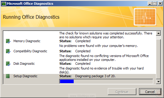 Microsoft Office Diagnostics in Outlook 2007