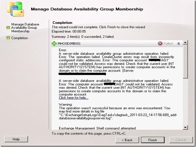Exchange 2010 DAG Error - A server-side database availability group