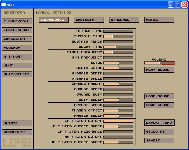 sfxr - A Great Free Sound Effect Generator - Nostatic Software Dev Blog