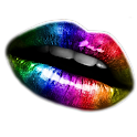 Rainbow Lips cool sticker logo