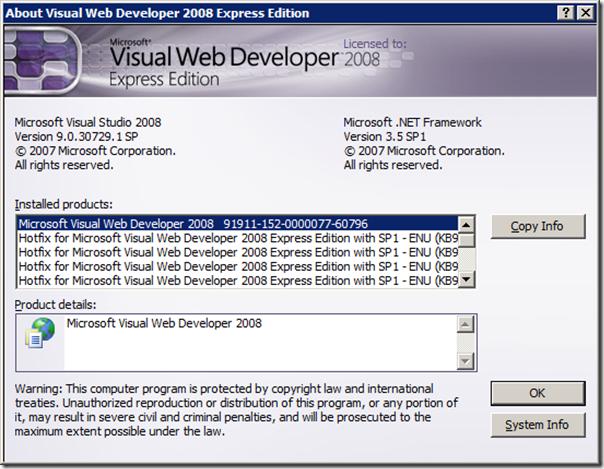 Microsoft visual c# 2008 express edition license key.