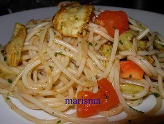 espaguetis con calabacin,racion