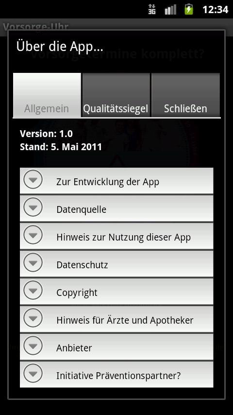 Vorsorge-Uhr- screenshot