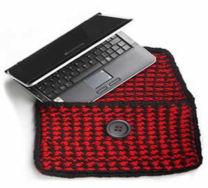 capa para notebook em tricô