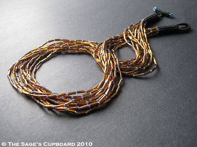 Amber and Blue Bugle Necklace by The Sage's Cupboard