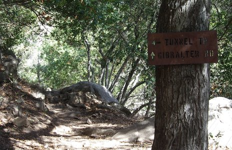 Junction along Rattlesnake Canyon: forward to Gibralter Road and left to Tunnel trail.