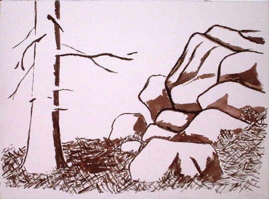 Sepia lines and unrealistic shadows of rocks and tree.